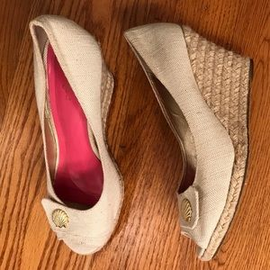 EUC Lilly Pulitzer Canvas Wedge, Neutral